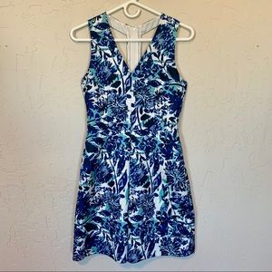Blue, teal, and white floral H&M knee length dress